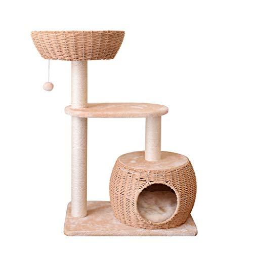 Xiaoli Árbol para Gatos Gato Columpio Gato Rascador Rascador árbol Polo Muebles Gimnasio Juguete de la casa del Gato de la Plataforma de Salto Rascador para Gatos (Color : Beige)