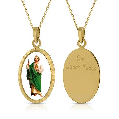 Gargantilla Collar Oro de Ley. Niña/Mujer. Virgen San Judas, con Cadena. Medida 12x18 mm. (1-4930)
