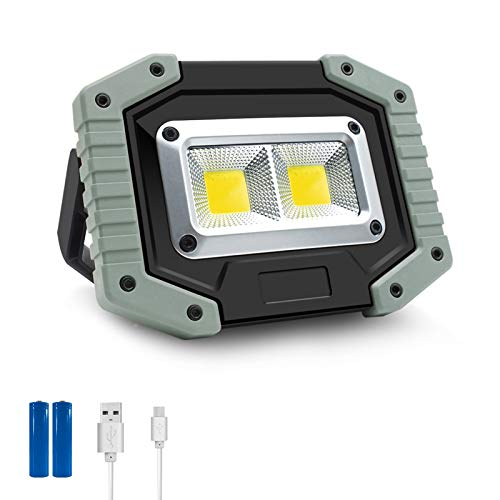 30W LED Work Light, COB Rechargeable Flood Light, Portable 1500LM Job Site Lighting, Waterproof, 3 Lighting Modes for Outdoor Camping, Hiking, Emergency Car Repairing, Fishing Workshop, 1 Pack