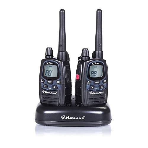 Midland G7 Pro Kit Radio Ricetrasmittente Walkie Talkie Dual Band 8 Canali PMR446 e 69 Canali LPD - 2 Ricetrasmettitori, 2 Set Batterie Ricaricabili, Caricatore Doppio con Alimentatore, 2 Clip Cintura