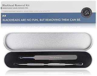 Professional Blackhead Remover Tool Kit - Stainless Steel - Comes with 1 Curved Needle Tip Tweezer & 1 Looped Double-End Extractor - For Removal of Blackheads, Comedone, Acne, Pimple, Zit