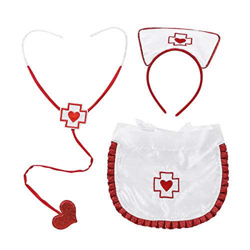 FEESHOW 3tlg. Damen Krankenschwester Kostüm Set Zubehör Sexy Nurse Fasching Party Cosplay Halloween Weiß+Rot One Size
