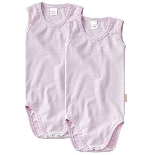 wellyou Doppelpack Baby Body - Kinder Body ohne Arm rosa-Weiss gestreift Größe 50-98