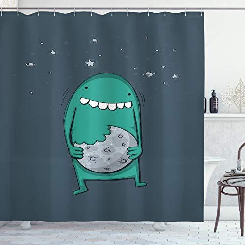 ABAKUHAUS Plätzchen Duschvorhang, Monster mit scharfen Zähnen, Leicht zu pflegener Stoff mit 12 Haken Wasserdicht Farbfest Bakterie Resistent, 175x180 cm, Pale Schiefer-Blau Teal & dunkle Schiefer-Blau