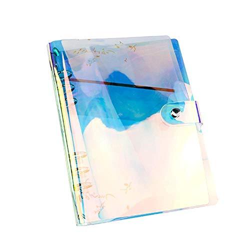 Binder Creative Funda para cuaderno de PVC suave, diseño de arcoíris, color transparente, recargable, con anillas redondas protectoras, 6 agujeros (A5/A6/A7) A5