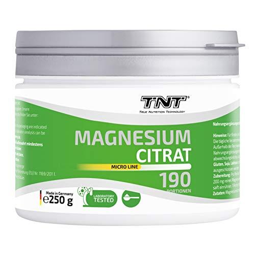 TNT – 250g Reines Magnesiumcitrat Pulver Hochdosiert – Laborgeprüftes Magnesium – 200 mg Magnesium pro Portion (Neutral)