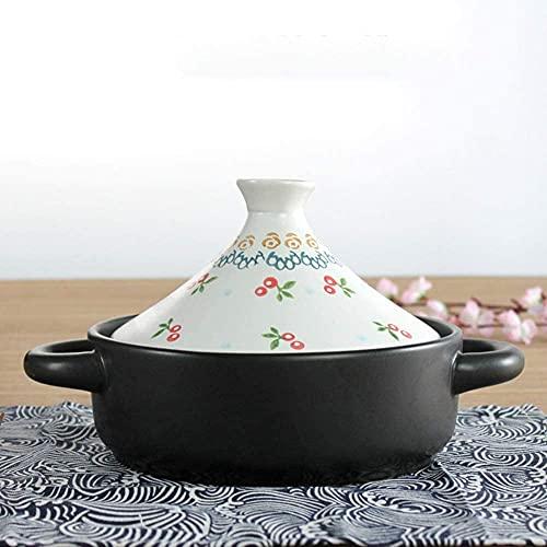 HSWYJJPFB Pentola in Terracotta Piatti Casseruola con Coperchi Pentola in Ceramica da 20 Cm con Manico per Claypot Riso Pentola Lenta Dipinta A Mano Resistente al Calore