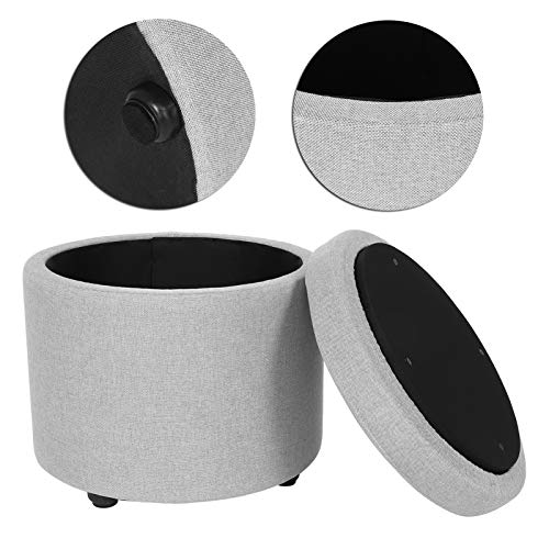 LRXG Taburete De Almacenamiento Redondo Multifuncional Reposapiés Cojín Caja De Almacenamiento Puf Reposapiés para Muebles para El Hogar Gris