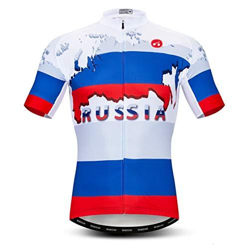 weimostar Ciclismo Jersey Uomini bici vestiti della bicicletta jersey top shirt Strada MTB jersey manica corta Estate Russia blu Taglia XXL