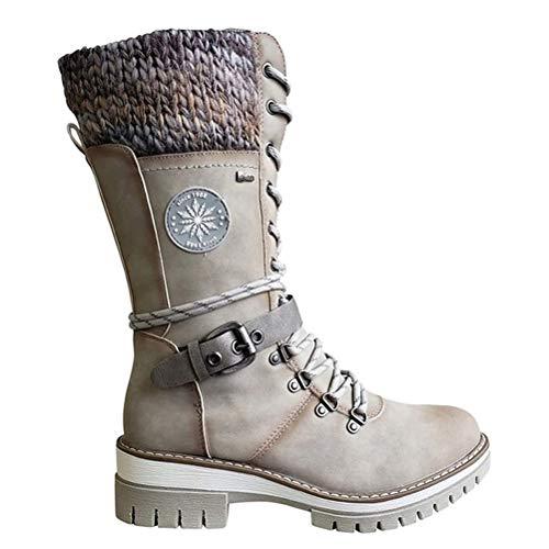 Botas femininas até o meio da panturrilha, botas de neve quentes e resistentes à água, fivela de renda, botas de cano médio, botas de inverno com salto baixo, bico redondo