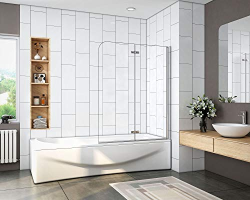 Mamparas de Bañera Plegable Biombo de Baño Abatible, 6 MM Cristal Templado Antical 90x140cm