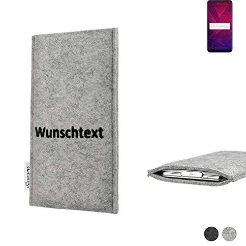 flat.design Handy Hülle Porto für Coolpad Cool 3 personalisierbare Handytasche Filz Tasche Name Wunschtext Hülle fair