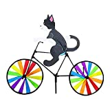 Cartoon Bike Spinner Cat Dog Bicycle Garden Stake, Cats on a Bike, Dogs Riding Bike, Bicycle Wind Spinner Pinwheels, Cute 3D Animal Rainbow Windmill Decor Ornament for Outdoor Stake Decorations