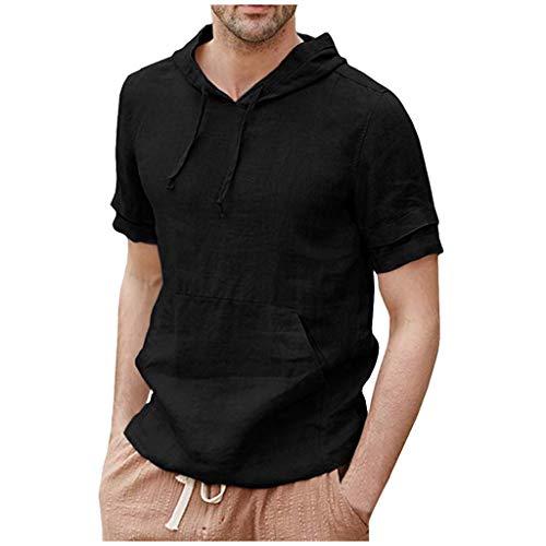 Xmiral Camicia in Lino da Uomo Pullover con Cappuccio Casual Leggero T-Shirt a Manica Corta Top Camicetta (M,Nero)
