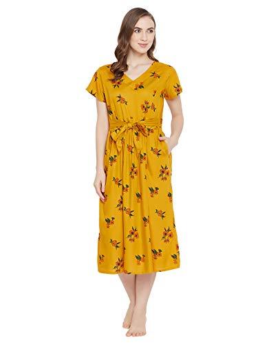 Clovia Women's Pretty Florals Nighty (NS1342P07_Yellow_L)