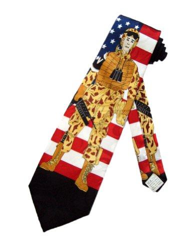 Fratello Mens USA Army Soldier Fatigue Necktie - Black - One Size Neck Tie
