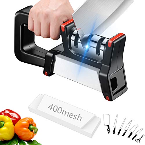 Knife Sharpener with Sharpening Stone, Kitchen Knife Accessories 3+1 Stage dual function Helps Repair Restore and Polish Blades
