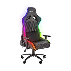 Gaming chair that features X Rocker's innovative Neo Motion LED lights technology with full RGB colour spectrum and up to 30 different colours and lighting patterns Provides maximum comfort with additional lumbar support cushion, so you can comfortab...