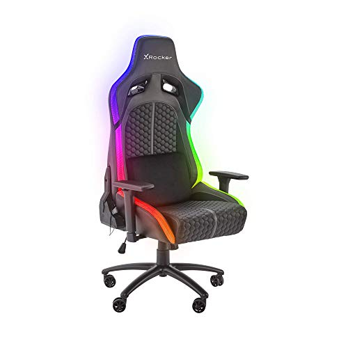 X-Rocker Stinger eSports RGB LED PC Gaming Chair, Adjustable with Lumbar Support – Black
