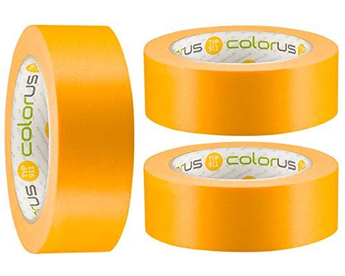 3 x Colorus Premium Goldband PLUS Fineline Tape 38 mm x 50m | Klebeband für Lacke, Lasuren und Farben | Nassfest, Extrem exakte Farbkanten, Reißfest UV-beständig | Maler-Abdeckband Innen, Außen