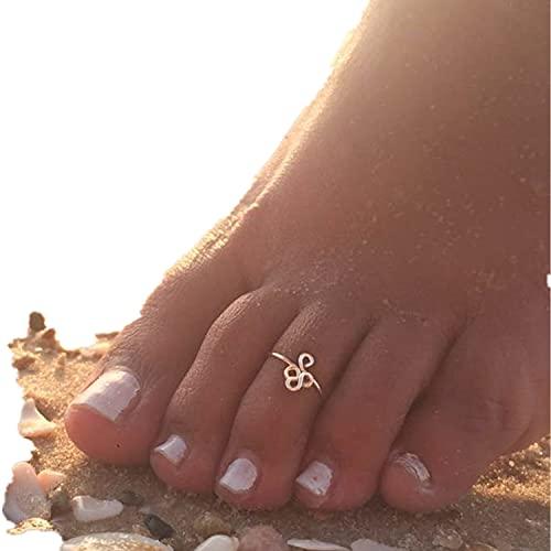 HOMEYU Anillos de Dedo llenos de Oro de 14k para Mujer, Anillo de Dedo de puño Abierto Ajustable, Talla única, se Adapta a la mayoría de los Dedos de los pies, joyería hipoalergénica para los pies