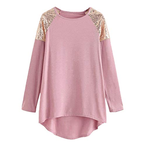 Shirt Women Long Sleeve Solid Color Sequins Patchwork Loose Cotton Sports Casual Stretch Sweatshirt T Shirt Light Airy Fashion Retro Shirt Autumn New Christmas Top 3XL