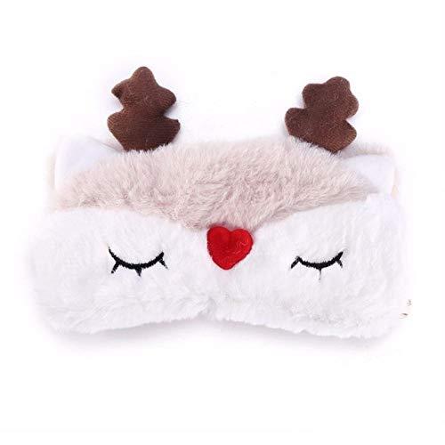 HIUGHJ Ciervo de Navidad Animal Lindo Cubierta de Ojos Tela de Felpa M¨¢scara para Dormir Parche para el Ojo Siesta de Dibujos Animados de Invierno Sombra de Ojos, 5