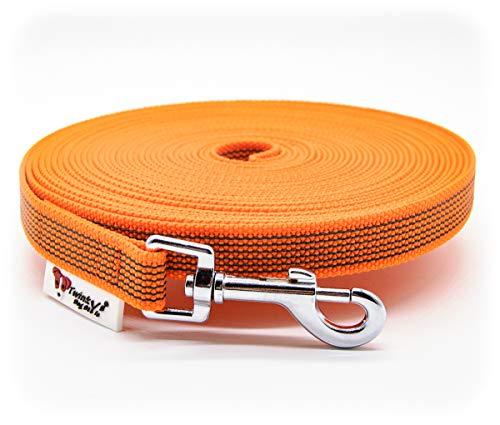 Twinkys Dog Style Made IN Germany Schleppleine Hundeleine gummiert 20 mm breit für Hunde bis 50 kg - OHNE Handschlaufe 15 Meter Orange