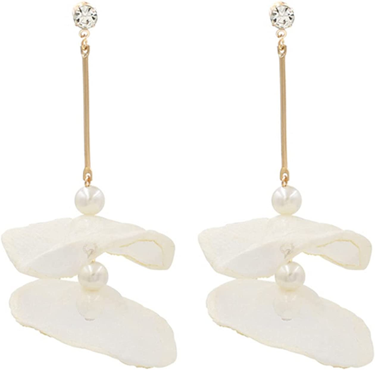 NIDEZHI Lightweight Chic Bohemian Chiffon Flower Dangle Drop Earrings for Women Girl