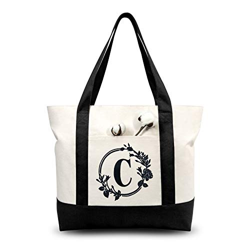 TOPDesign Stylish Personalized Embroidery Initial Canvas Tote Bag, Suitable for Weddings, Birthday, Beaches, Holiday, Bachelor Parties, is a Great Gift for Mothers, Teachers, Friends, Bridesmaids (Letter C)