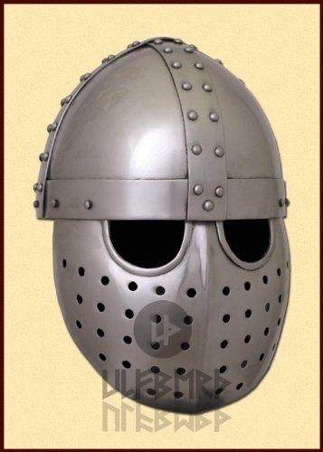 Schaukampftauglicher Kreuzfahrer Spangenhelm mit Gesichtsplatte LARP Mittelalter Ritterhelm Größe L