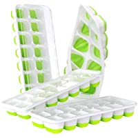 4-Pack DOQAUS Easy-Release Silicone & Flexible 14-Ice Cube Trays with Spill-Resistant Removable Lid (Green)