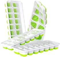 DOQAUS Ice Cube Trays 4 Pack, Easy-Release Silicone & Flexible 14-Ice Cube Trays with Spill-Resistant Removable Lid, LFGB...