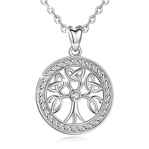 EUDORA 925 Sterling Silver Celtic Tree of Life Infinity Necklace Pendant, 18 inch, Gift for Women