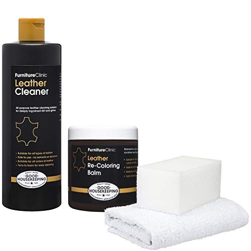 Furniture Clinic Leather Easy Restoration Kit | Set Includes Leather Recoloring Balm & Leather Cleaner, Sponge & Cloth | Restore & Repair Your Sofas, Car Seats & Other Leather Furniture (Pine Green)