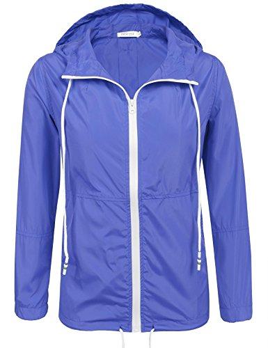 Unibelle Damen Regenjacke Leichte Kurze Jacke Windjacke Damen mit Kapuze Übergangsjacke Winddicht wasserfest Navyblau M