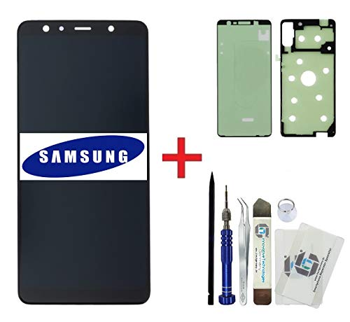 iTG® originele display reparatieset voor Samsung Galaxy A7 (2018) SM-A750F zwart - originele Samsung LCD display unit (service pack) GH96-12078A + voorgesneden 3M plakfolie + gereedschapsset