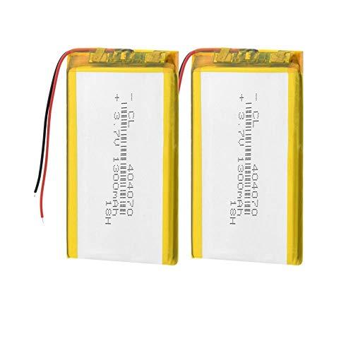 Dilezhiwanjuwu 3.7V 1300mAh 2pcs Lithium Battery 404070 Rechargeable Li-polymer Lipo Battery Replace For Laptop IPad GPS Tablet PSP