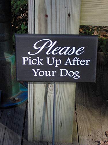 CELYCASY Holzschild Please Pick Up After Your Dog, Aufschrift No Dog Poop, Hundebesitzer, Außenschild, Vorderhof, Holzschild, Landschaftsschild, Kunst