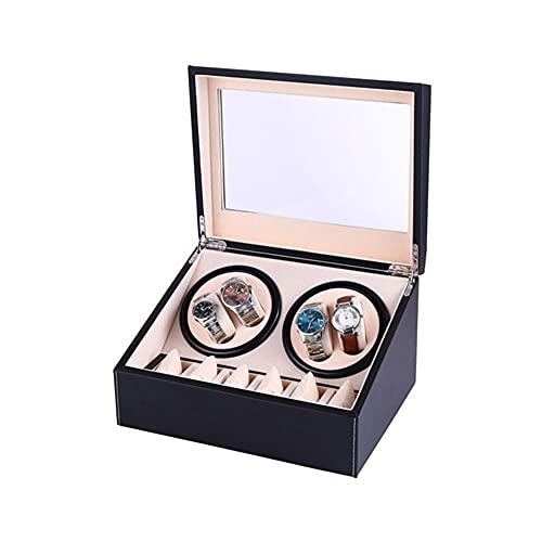 Caja enrolladora de reloj súper silenciosa de gran capacidad con almacenamiento y almacenamiento Caja enrolladora de reloj 4 posiciones de rotación de reloj y 6 posiciones de visualización de reloj