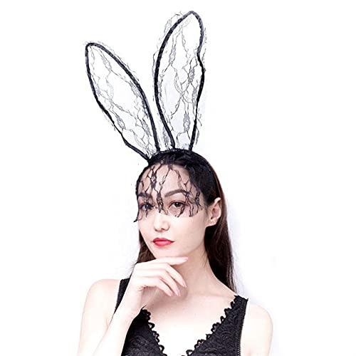 Coiffes de Mariée Veil de bandeau sexy, masque d'oreille de lapin, accessoire de cheveux, voile Accessoires de Mariée (Color : Black)