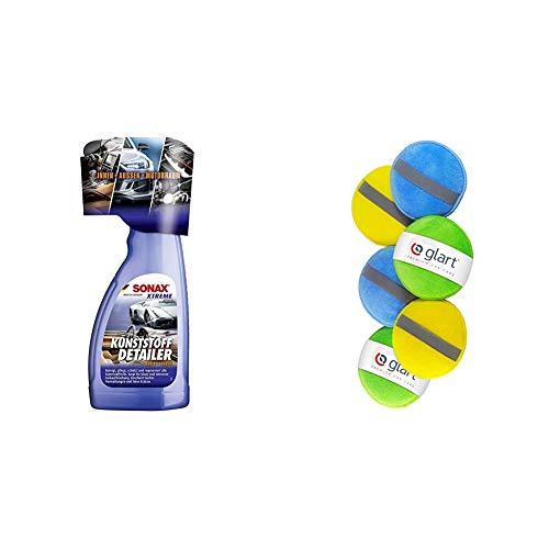 SONAX Xtreme KunststoffDetailer Innen + Außen (500 ml) Reinigung, Pflege und Schutz für das gesamte Fahrzeug & Glart 46PP Mikrofaser Handpolierschwamm 6er Set, 130x25 mm, Wax Applikator Pad