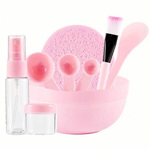 Gesichtsmaske Rührschüssel Set Lady Gesichtspflege Maske Mischen Werkzeug Sets Schüssel Stiel Bürste Gauge Reinigungsmatte 9 in 1 Set Pink