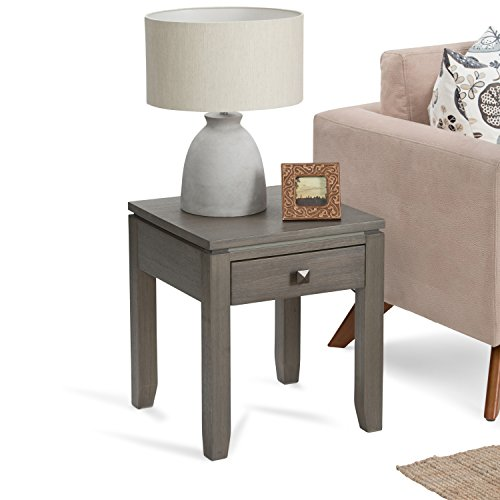 SIMPLIHOME Cosmopolitan SOLID WOOD 18 inch wide Square Contemporary End Side Table in Farmhouse Grey with Storage, 1 Drawer, for the Living Room and Bedroom