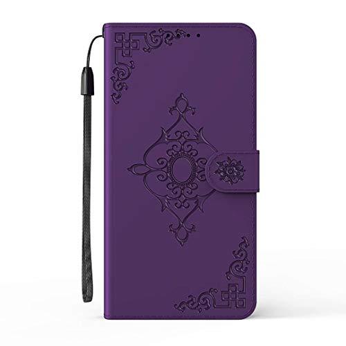 Nokia 2.3 Hülle, Stoßdämpfung, Flip PU Leder Floral Wallet Handyhülle Folio Slim Fit Magnetische Schutzhülle TPU Bumper mit Ständer Kartenfächer für Nokia 2.3 Lila