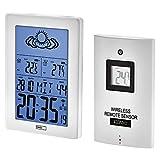 EMOS Mini Funk Wetterstation mit Außensensor, Wettervorhersage, Funkuhr, Wecker und Kalender, Innen-und Außentemperaturanzeige, batteriebetrieben, 5,5 x 11 x 15,4 cm