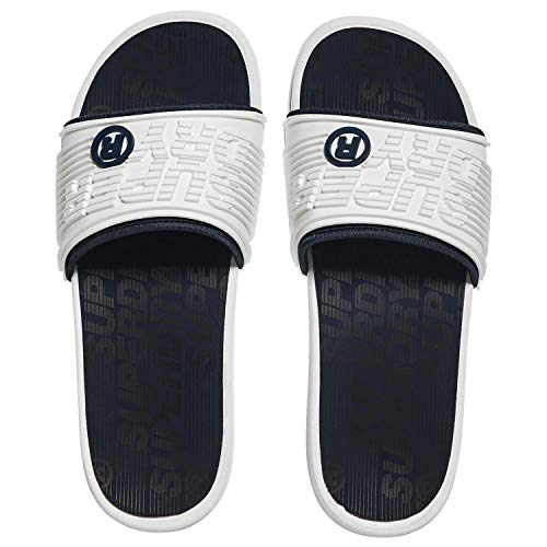 Superdry Bade-Sandalen Herren Premium Crewe Slide Optic White Sark Navy Hyper Co, Größe:S
