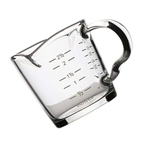 Cabilock Unzen Messbecher Mit Skala Küche Glas Messbecher 100ml Espresso Glas Küche Bar Restaurant Flüssigkeiten Trockenstoffe Messwerkzeug