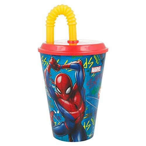 2751; vaso con caña figura spiderman;...