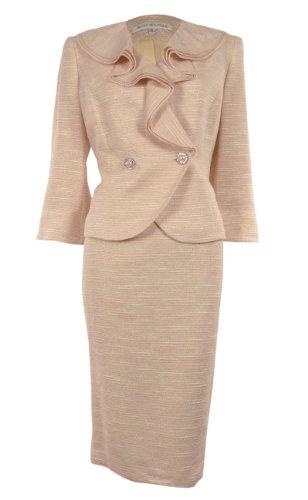 Women's Ruffle Collar Metallic Business Suit Skirt Set (22W, Peach)
